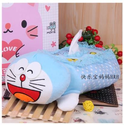 Blue Doraemon Lace Tissue Pouch Holder Tissue Pumping Set Cartoon Seat Napkin Box Case Tissue Paper