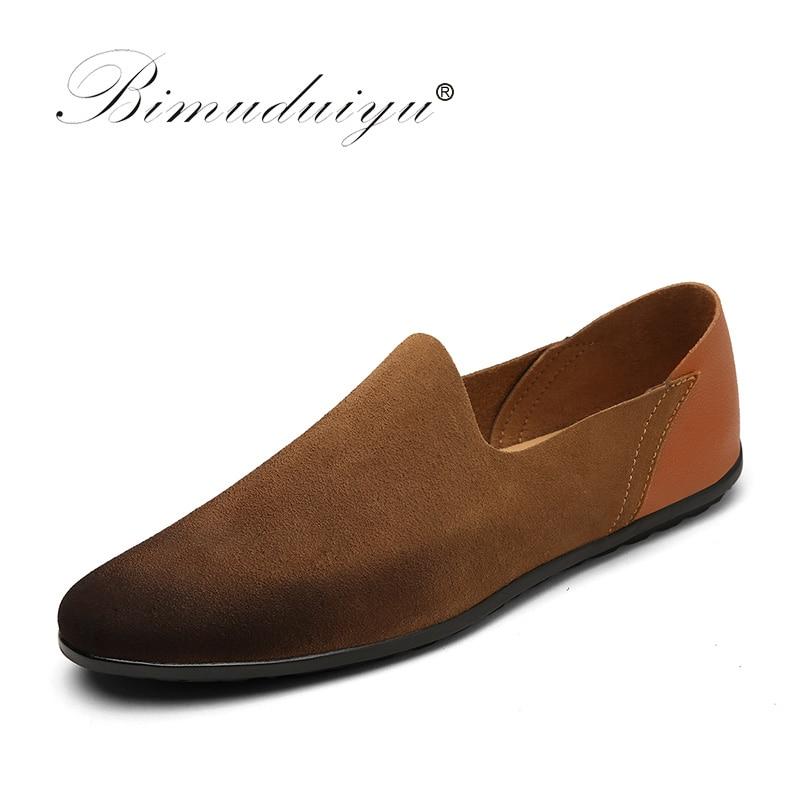 BIMUDUIYU Lyx Märke Herr Andningsbar Suede Läder Tillfälligt Sko Handgjord Mode Man Doug Skor Silp-On British Style Flats