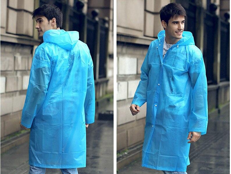 12.Fashion EVA Women Raincoat Thickened Waterproof Rain Coat Women Clear Transparent Camping Waterproof Rainwear Suit Rain jacket_