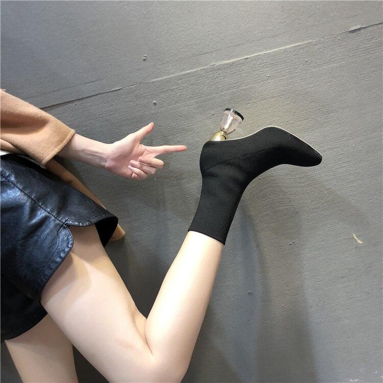 Del Invierno Pie Damas Botines Botas Mujer Cortos Elástico Dedo Transparente Negro Cuadrado Vintage Calcetín Zapatos Tejido Señoras Tacones Fvw5Zq