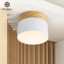 Aisilan светодиодный потолок пятно света для потолочные лампы светильники Светодиодный 5 Вт дерево светильник прожектор современные деревянные живой свет