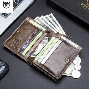 Image 5 - Cartera de cuero genuino para hombre, cartera masculina de diseño con cremallera, cartera para tarjetas y monedas de lujo