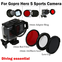 58mm Go pro HERO 5 HERO5 16x Macro Lens + UV Red Filter +Lens Cap for GoPro hero5 Hero Black sports camera Accessories