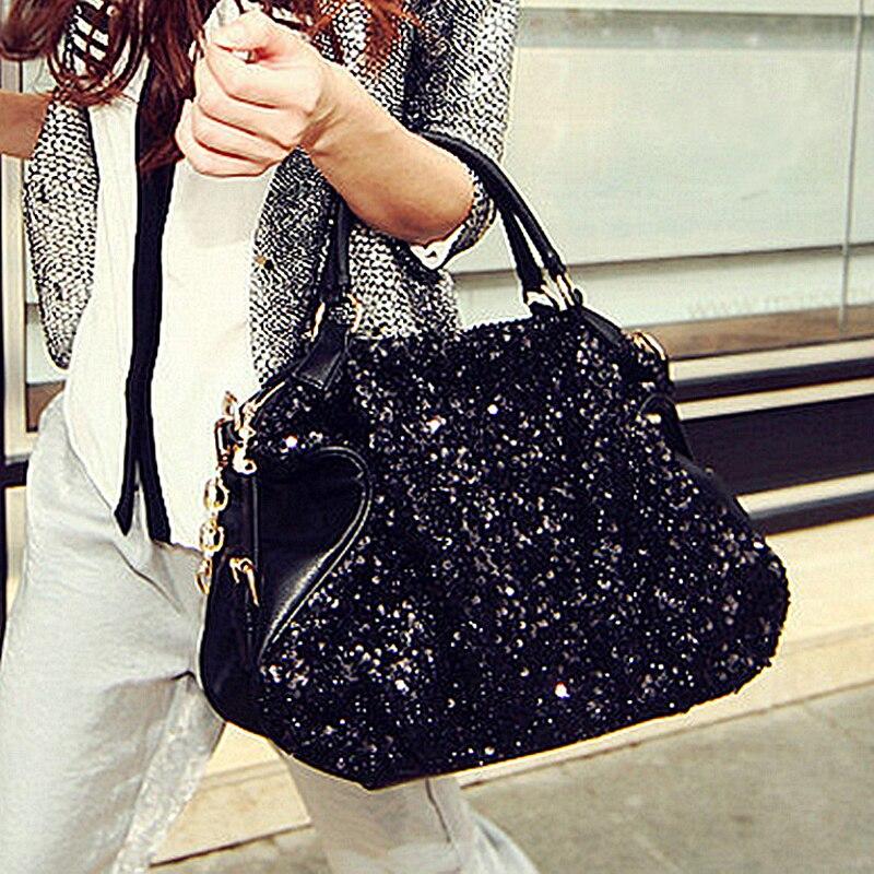 50 шт./лот новые модные женские туфли Блестящие PU кожаная сумка черный с блестками женские сообщение сумка Crossbody сумка Сумки с короткими ручк
