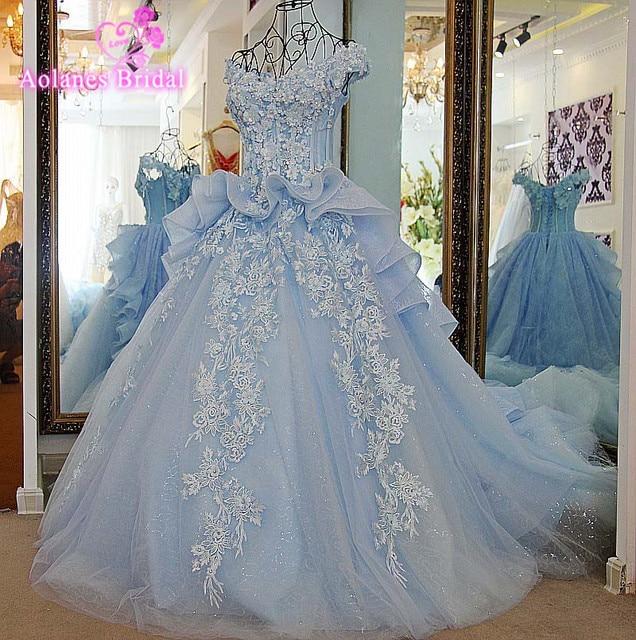 Robe De Mariage Ivory Blue Appliques Crystals Maternity Wedding ...