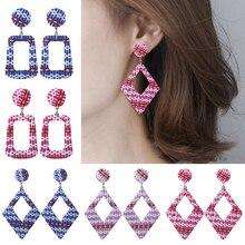 HOCOLE Korean Bohemian Wooden  Earrings For Women 2019 Pink Blue wood Rattan Knit Dangle Earring Geomotric Statement Jewelry