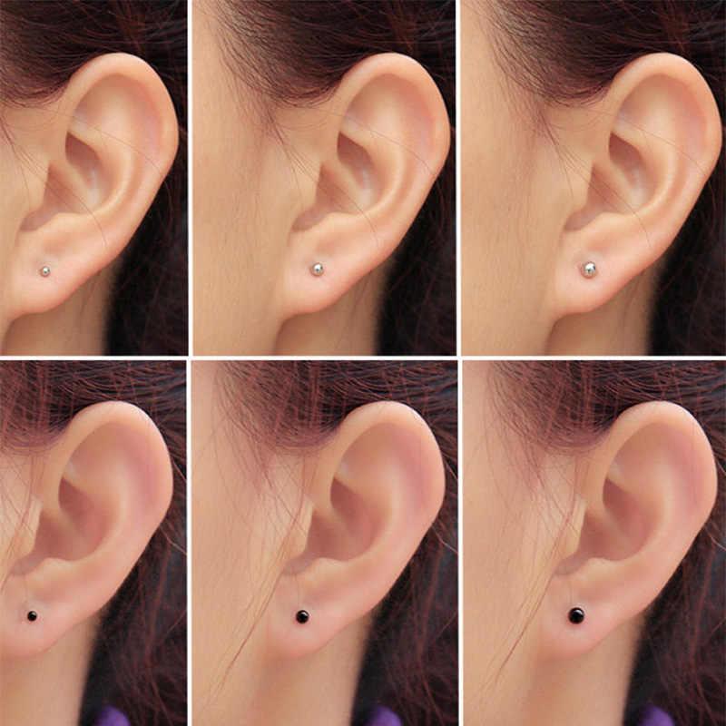 3 pz/set Donne titanium/Orecchini in acciaio inox Ear Studs Piercing Trago Cartilagine Helix Piccola palla Orecchio Osso Chiodo/ bastone
