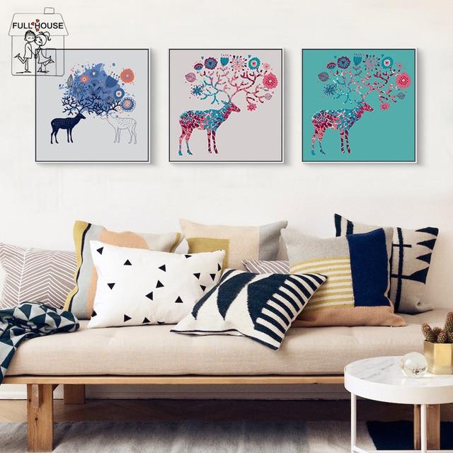 Full House Nordique Animal Style Peinture Murale Pour Le Salon