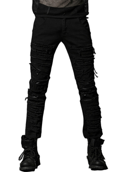Punk Elastic Coarse Slanting Stripe Trousers Men Slim Mid Waist Full Length Patchwork Jeans With Pockets