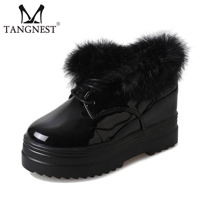 Tangnest Women Patent Leather Ankle Boots Warm Faux Fur Lace UP Platform Shoes Winter Casual Snow Boots White Black XWX6574