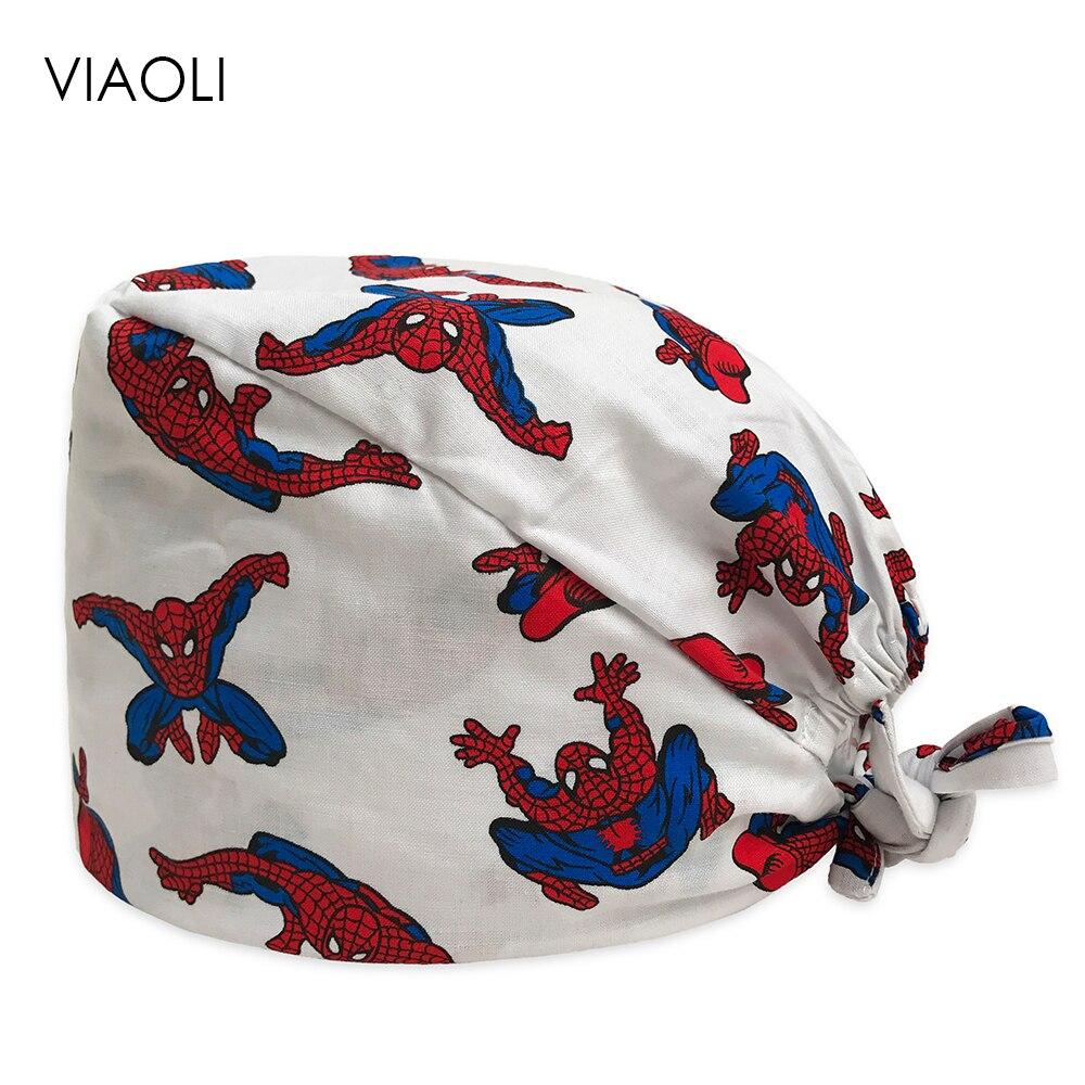 Hero Print Caps Dentists Surgical Hats Masks Women Medical Surgical Scrub Caps Print Adjustable Men Pet Doctor Hat Mask Unisex