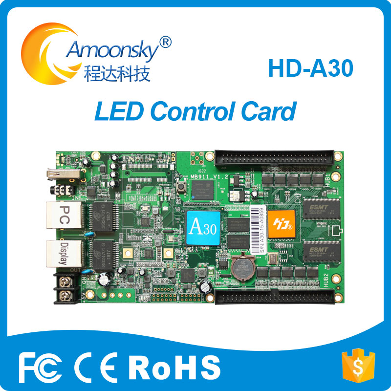 HD-A30 full color async controller led panel display control card programmable driver board for full color led advertising
