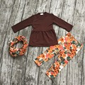 FALL/Winter scarf set children suit baby girls thanksgiving milk silk 3pieces brown floral long sleeves pants boutique clothes