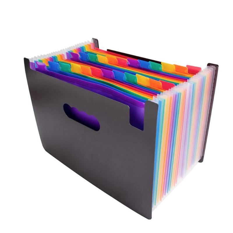 US $9 44 13% OFF|24 Pockets Expanding Files Folder Multicolor Big Document  Bag A4 File Manager Business Office Student PP Folder Organizer-in File