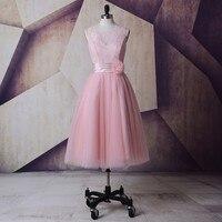 Vintage Lace Tea Length Blush Pink Wedding Dresses 2015 Scoop Robe De Mariage Princesse Cheap Bridal
