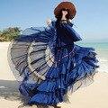 Fashion Bohemia 2017 Full Skirts Womens Ruffles Expansion Bottom Embroidery Maxi Long Skirts