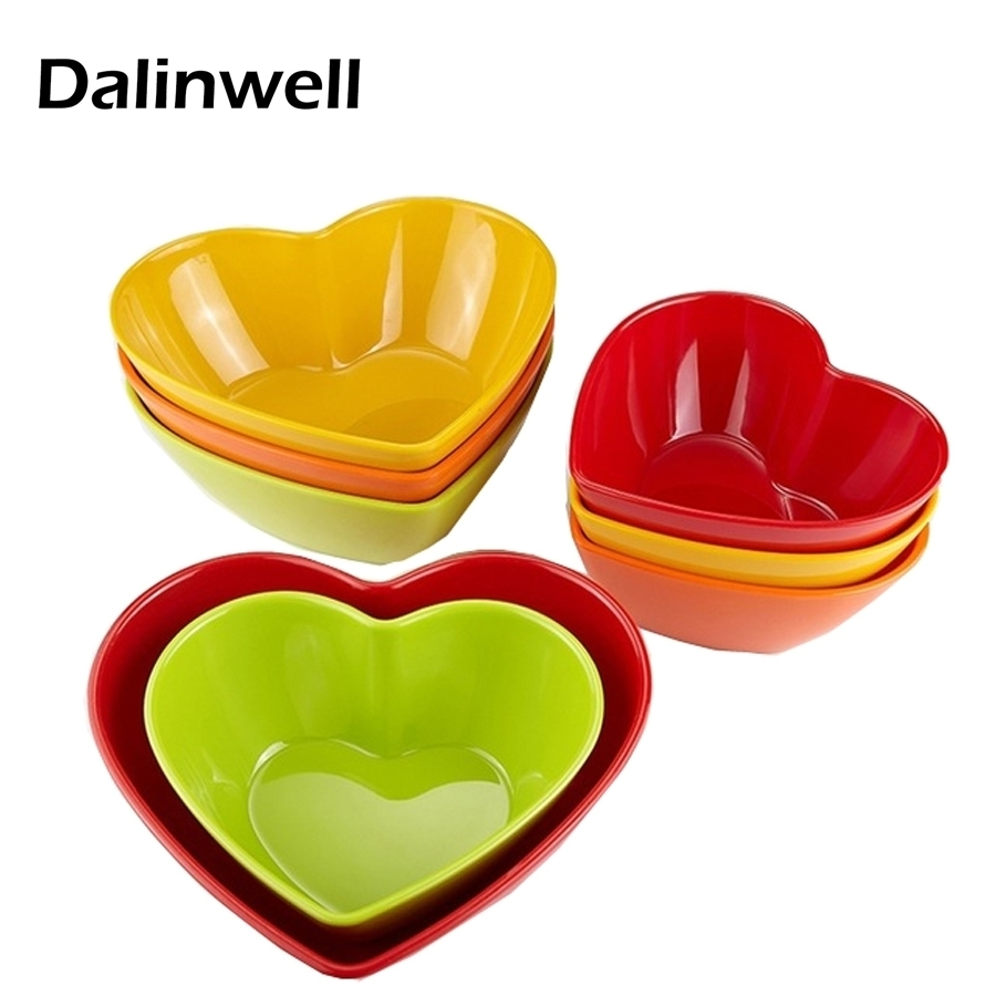 candy color melamine heart shape dishes plastic grill deep plates fruit salad bowl hotel living room tableware factory outlet - Melamine Dishes