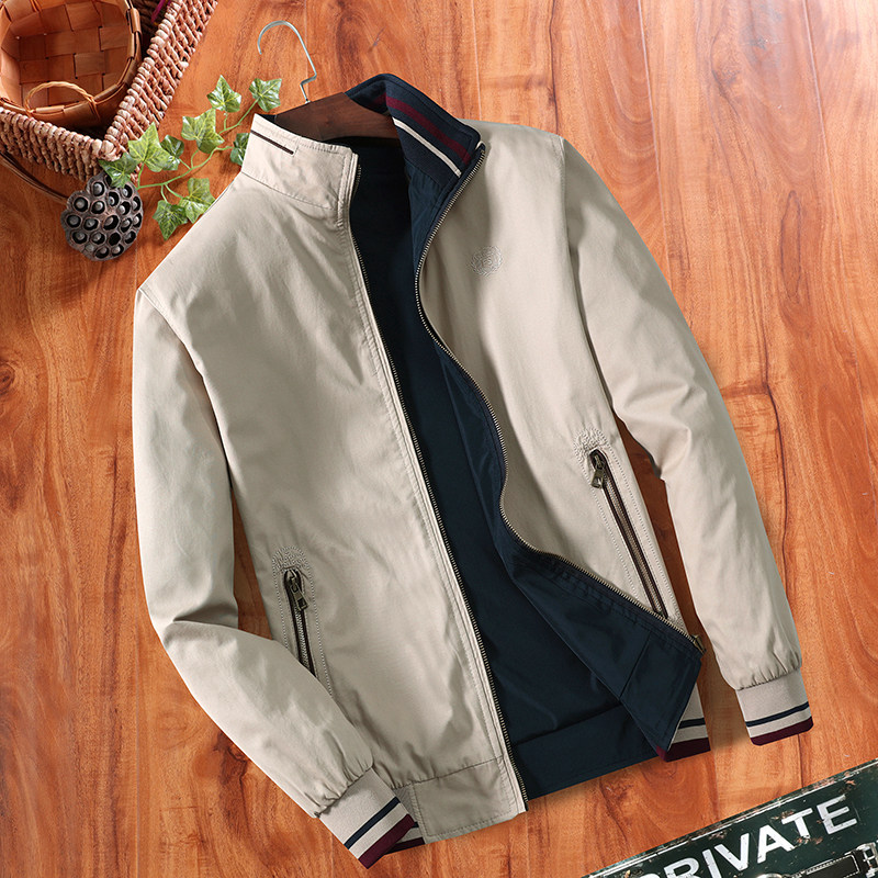 Double-sided, Middle-aged Men's Jacket, Thin Jacket, Loose Jacket, Pure Cotton, Leisure, Spring, Autumn, Dad's Collar, MP31.(China)
