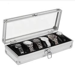 6 слотов сетки часы Дисплей хранения упаковки алюминиевый корпус шкатулка украшения серебро Цвет для Для женщин Для мужчин подарки