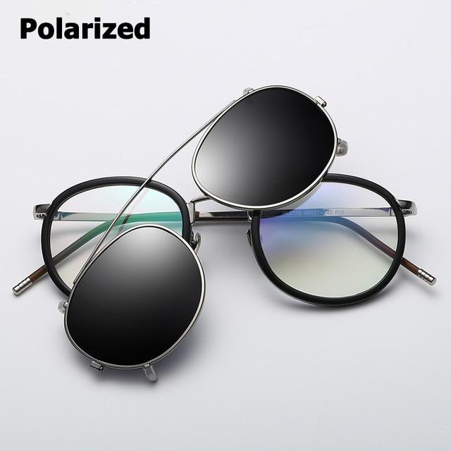 05109a5da2f JackJad SteamPunk Style Lens Removable Polarized Sunglasses Clip On Vintage  Round Metal Eyewear Sun Glasses Oculos