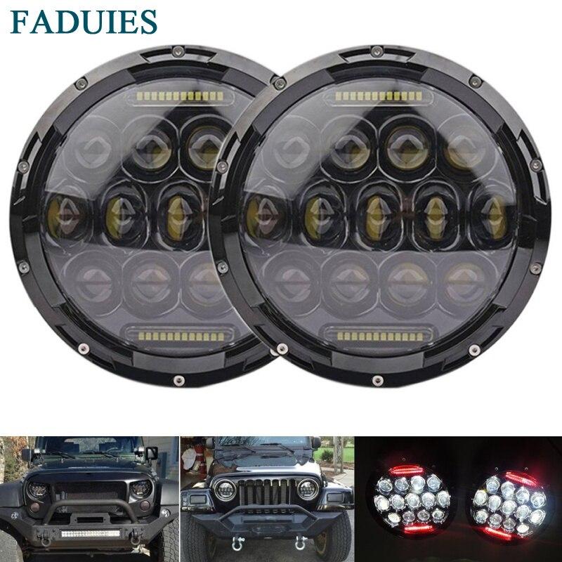 FADUIES 2psc 7 pouces rond 75 W LED phares ampoule pour Jeep Wrangler JK CJ LJ Hummer H1 H2 projecteur LED lampes de conduite rouge DRL