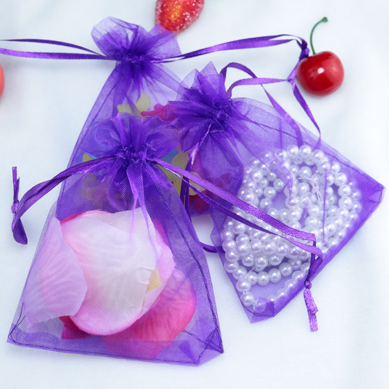 500pcs Lot Wholesle New Purple Drawstring Organza Pouch Gift Bags Fit Wedding Party 90 120mm In Jewelry Packaging Display From Accessories On