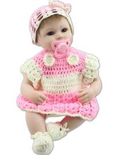 17″ Soft Silicone Realistic Reborn Baby Alive Girl Doll With Crochet Kits Collectible Toys Kids Gifts