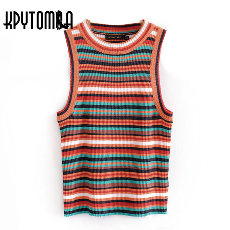Vintage Skinny Multicolored Striped Knit Tank Tops Women 2018 New Fashion O Neck Sleeveless Ladies Blouses Casual Femme Blusas