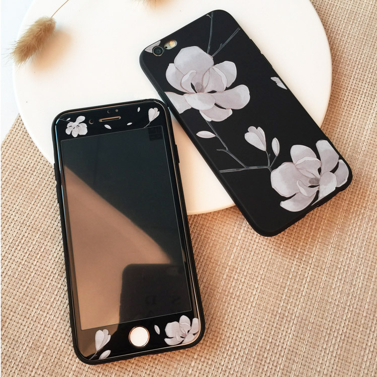 e48c86c207f Case For Iphone 8 8plus Soft Silicone Flamingo Flower Bird Case Tempered  Glass For Iphone 7 7 Plus Cover For Iphone 6 6s Plus