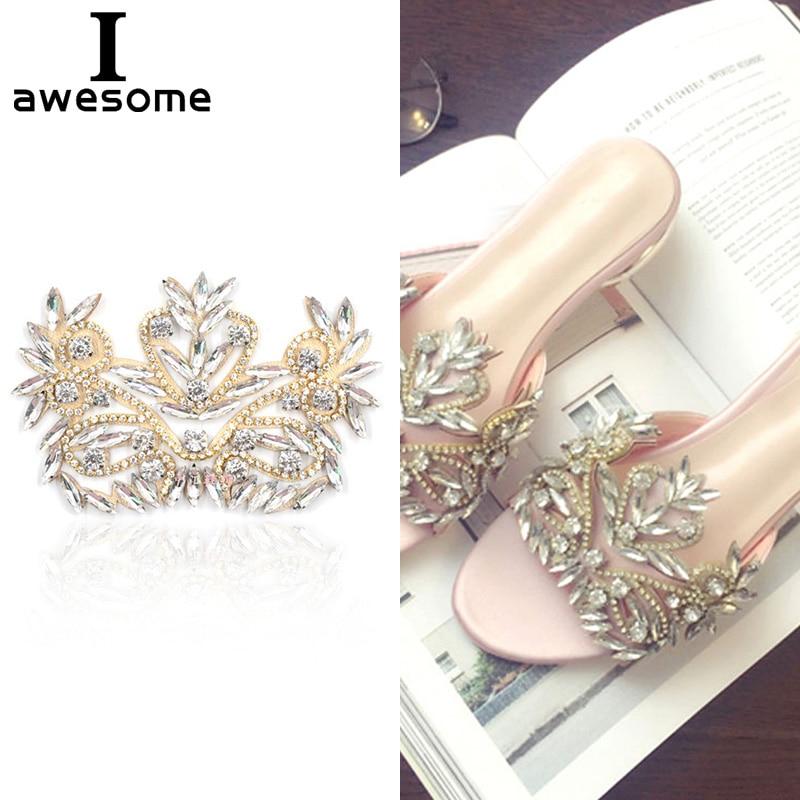 1pcs Bridal Wedding Party Shoes Accessories High Heels Shoes DIY Manual Rhinestone Sandals Shoe Decorations Flat Shoe Flower