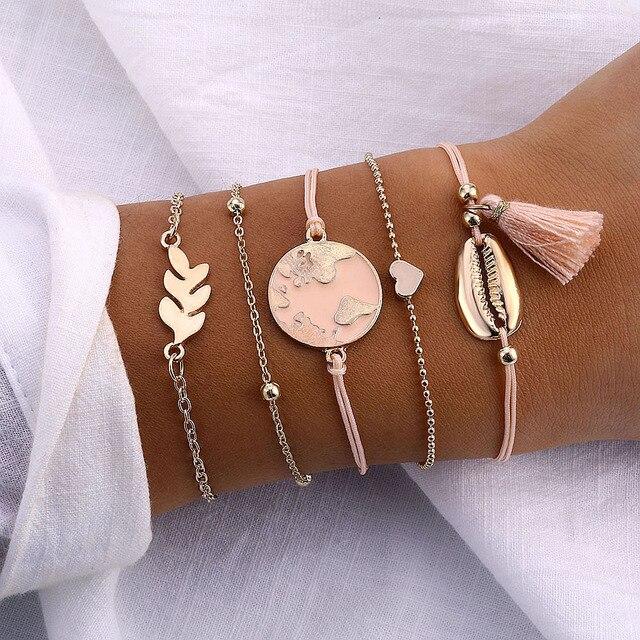 IPARAM 5pcs/set Bohemian Shell Bracelet Earth Love Leaf Tassel Charm Bracelets Set Women Multilayer Chain Rope Bracelet Jewelry
