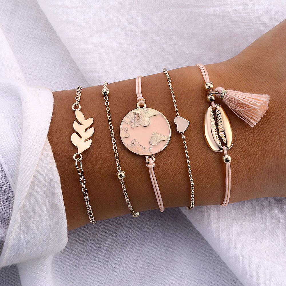 IPARAM 5pcs/set Bohemian Shell Bracelet Earth Love Leaf Tassel Charm Bracelets Set Women Multilayer Chain Rope Bracelet Jewelry