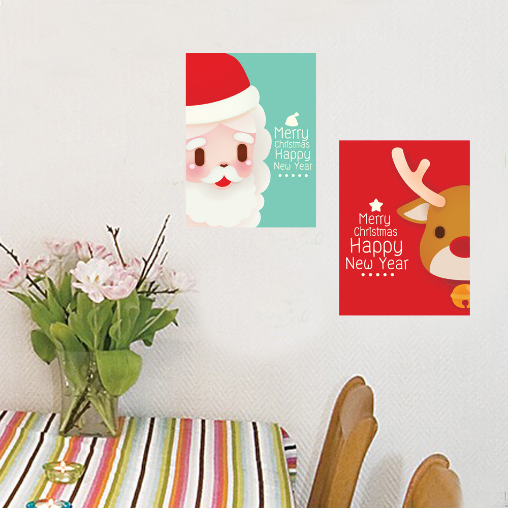 online get cheap deer wall decal aliexpress com alibaba group 2pcs set christmas party decoration 38 28cm santa claus deer wall stickers pvc wall