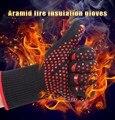 1 пара бесплатная доставка арамидных противопожарной изоляции перчатки термостойкие перчатки 932F барбекю перчатки печь перчатки Кухня прямые поставки