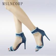 plus size 34-43 Cutout Jeans High Heel Women Sandals Fashion Summer Peep Toe Denim Zipper Women Thin Heels Woman Shoes Footwear недорго, оригинальная цена