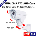 HD 1.0MP 2MP AHD PTZ Camera 720P 1080P 4X Optical Zoom 2.8-12mm VariFocal Lens Pan/Tilt Rotation ONVIF Outdoor Bullet Camera