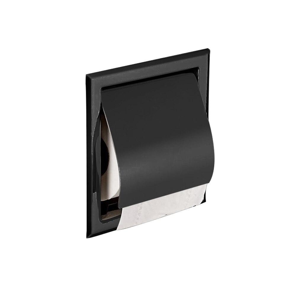 Black Modern Toilet Paper Holder 304 Stainless Steel Toilet Roll Holder Concealed Embedd Hotel Construction For Bathroom Product