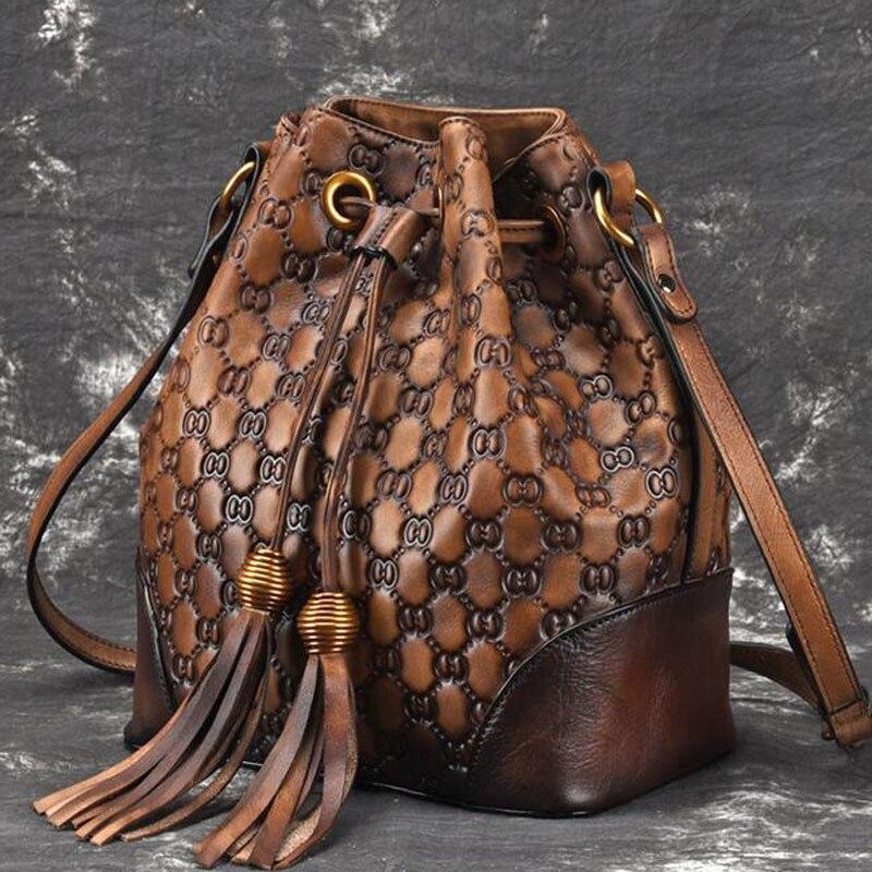 Nouveau sac à bandoulière rétro en cuir véritable pour femmes décontracté bandoulière classique pour femmes-in Sacs à bandoulière from Baggages et sacs    2