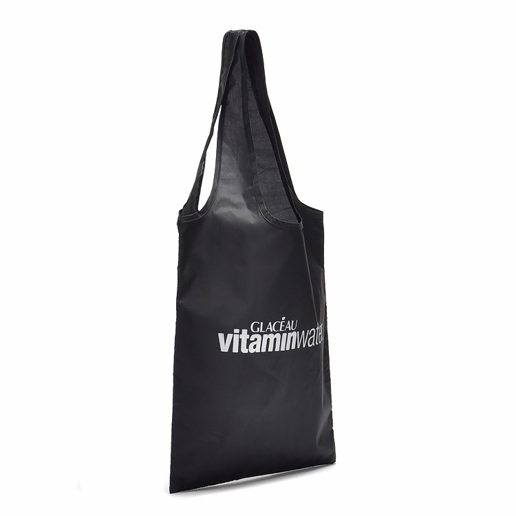 Custom Reusable Bags Nylon Black Grocery Totes Promotional Shopping Bags 12