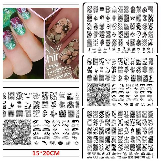 1 Pcs 15*20CM Large Size Konad Nail Art Stamping Stamper Used With ...