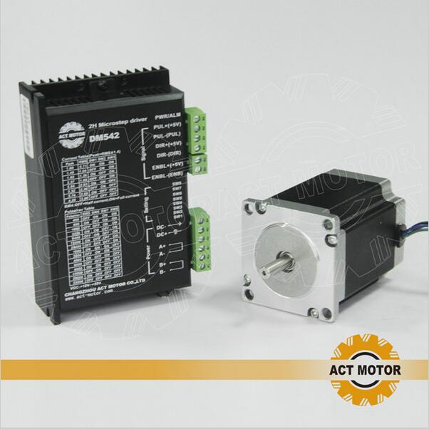 ACT Motor 1PC Nema23 Stepper Motor 23HS8430 4-Lead 270oz-in 76mm 3.0A Bipolar+1PC Driver DM542 4.2A 24-50V 128Micro US DE Free