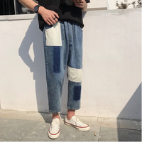 2019 Summer New Street Fashion Brand Men's Harlan Patch Feet Loose Nine Points Harajuku Casual Jeans