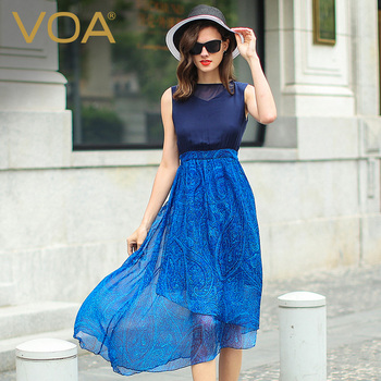 Voa Silk Georgette Sleeveless Print Women Plus Size Net Yarn Elegant Comfortable High Waist Slim Thin Dress Summer Vestido A5020