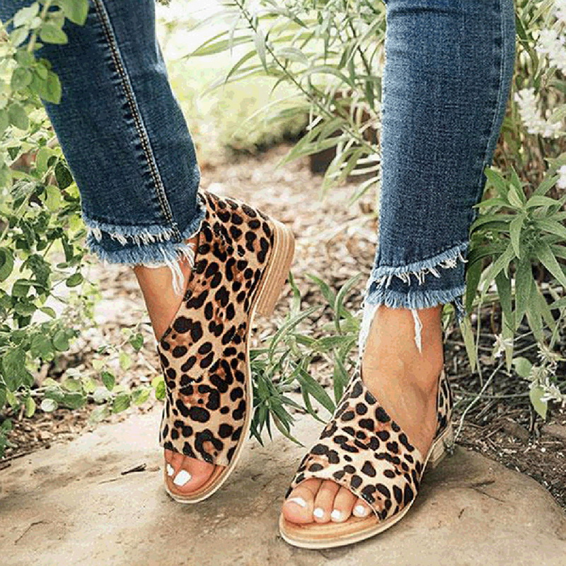 Oeak Womens Sandals Heel-Shoes Square Leopard Dames Fashion Peep Toe Casual Zomerschoenen