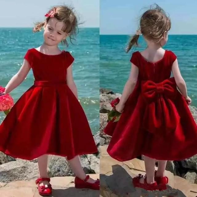 b459a0f7db78 2019 Tea Length Cute Red Flower Girl Dress Baby Girl Pageant Dress ...