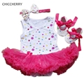 Classic Polka Dots Lace Tutu Baby Party Dress Headband Set Toddler Birthday Outfits Roupas Menina Newborn Baby Girl Clothes