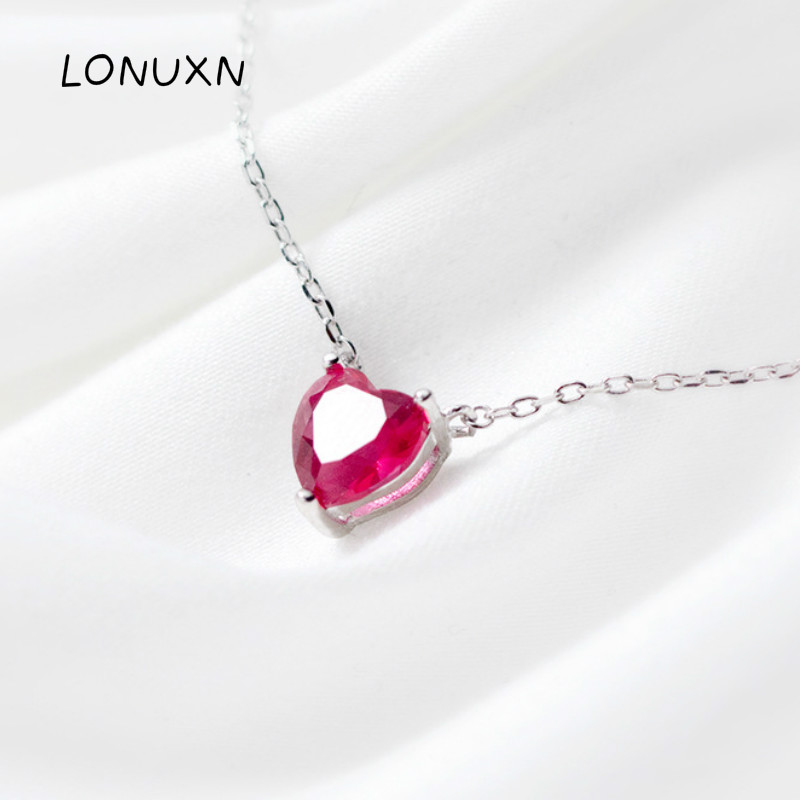 High quality 925 sterling silver necklace female fashion simple natural red crystal love pendant with chain love heart sweet