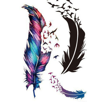 Waterproof Small Fresh Goose Feather Color Temporary Tattoos Stickers DIY Body Art Beauty Makeup!