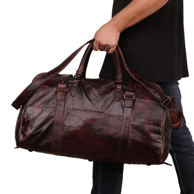 Sac de voyage en cuir pour homme Vintage grand sac de voyage rangement indépendant sacs pour ordinateur portable sac à main rendu sac à bandoulière bagage