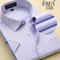 HQ Brand Plus Large Size US XXXL 4XL 5XL 6XL New Summer 2016 Short Sleeve Twill Pure Color Business Men's Dress Shirts Formal